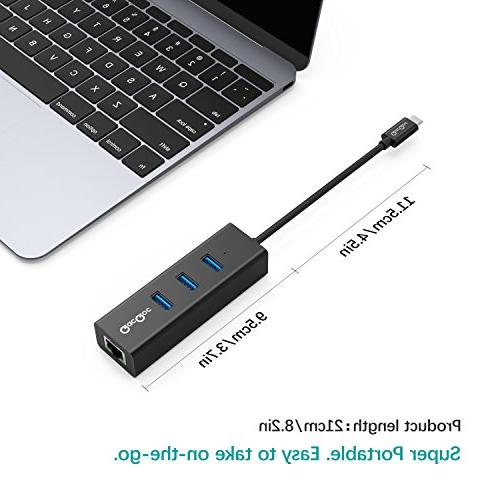 QacQoc 3-Port to Portable 10/100/1000M Converter Gigabit Network Adapter with Ethernet Port Pro 2016,HP More QC-H12E