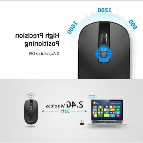 VicTsing Slim Mouse 2.0 Receiver For Laptop Black
