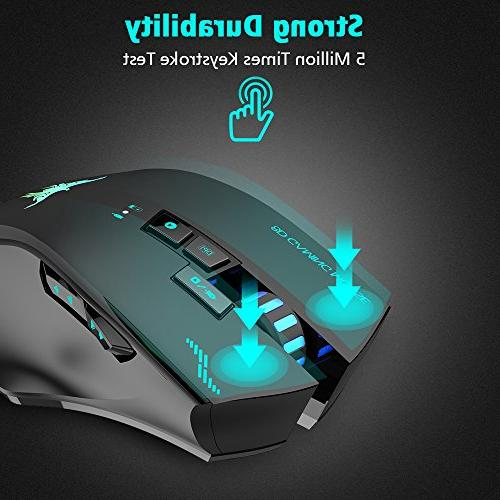 Wired Wireless Gaming Mouse, VersionTECH. W100 2400DPI Rechargeable 3 Levels Mac