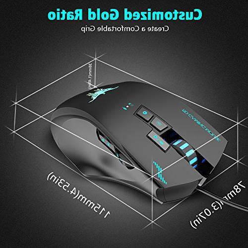 Wired VersionTECH. Laser Gaming Mouse 3 Lights, 8 Buttons, Levels for and Mac