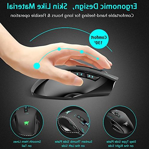 Wired Wireless VersionTECH. W100 2400DPI Laser Mouse 3 Lights, 8 Buttons, 4 Adjustable DPI Levels Mac