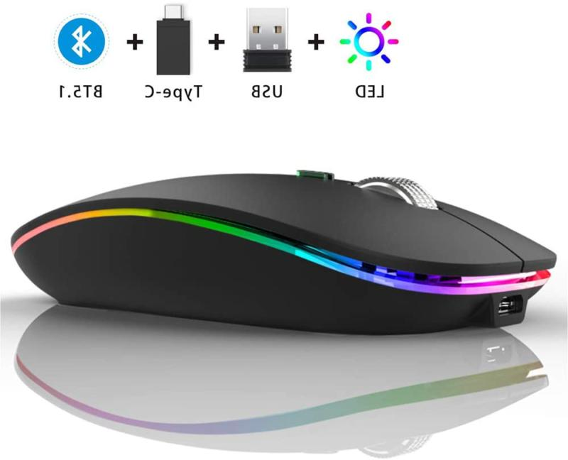 wireless bluetooth mouse led slim dual mode