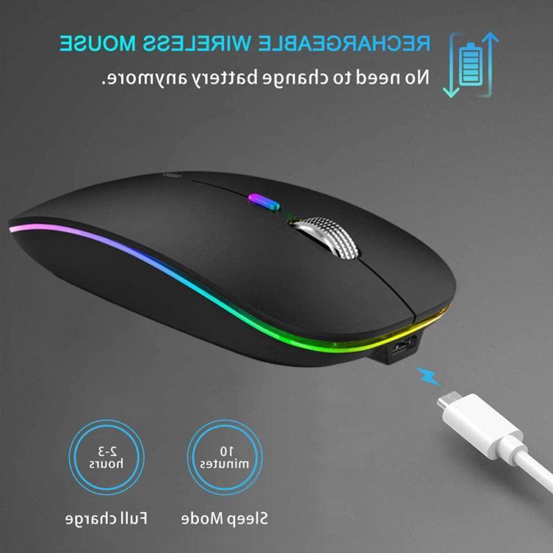 Tenmos Bluetooth Mouse, Led Slim Dual Mode 2.4Ghz