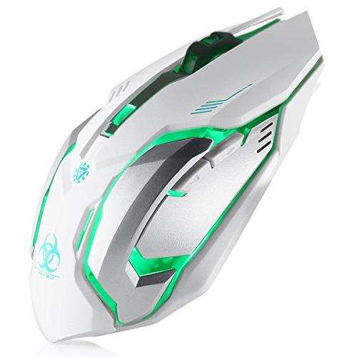 C8 Silent Click Wireless Rechargeable Mouse Colorful LED Lights DPI 400mah for