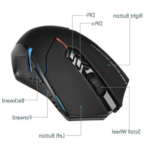 Wireless Gaming Mouse Silent Click Optical 2400 Mice USB for Laptop