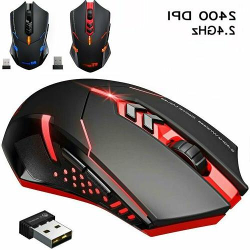 wireless gaming mouse silent click optical 2400