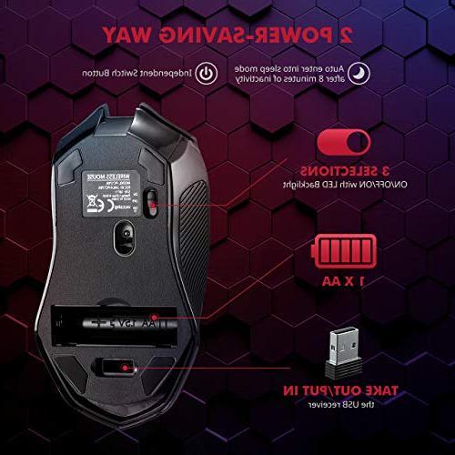 VicTsing Wireless Mouse Unique Silent Silent Mouse 2.4GHz Dropout-Free Connection Windows 7/8/10/XP Vista Black