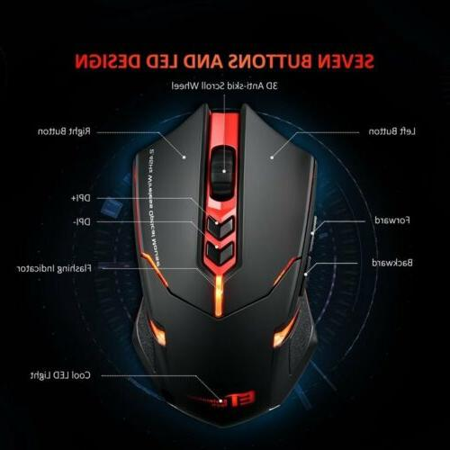 Wireless Gaming Mouse Unique Silent Click 2400 for PC Laptop Mac