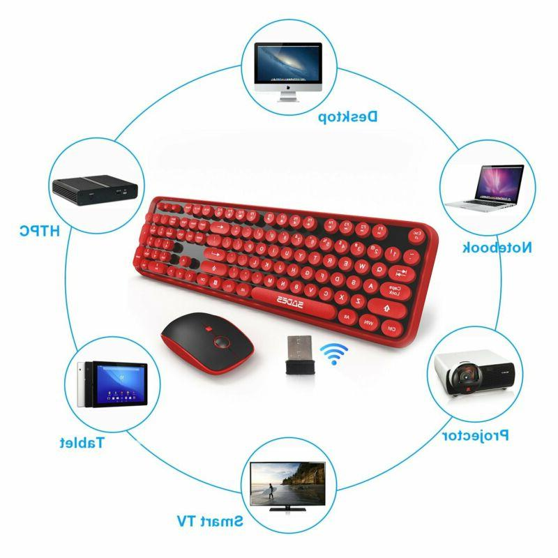Wireless Keyboard Mouse,Cute Wireless Keyboard Retro Style Red