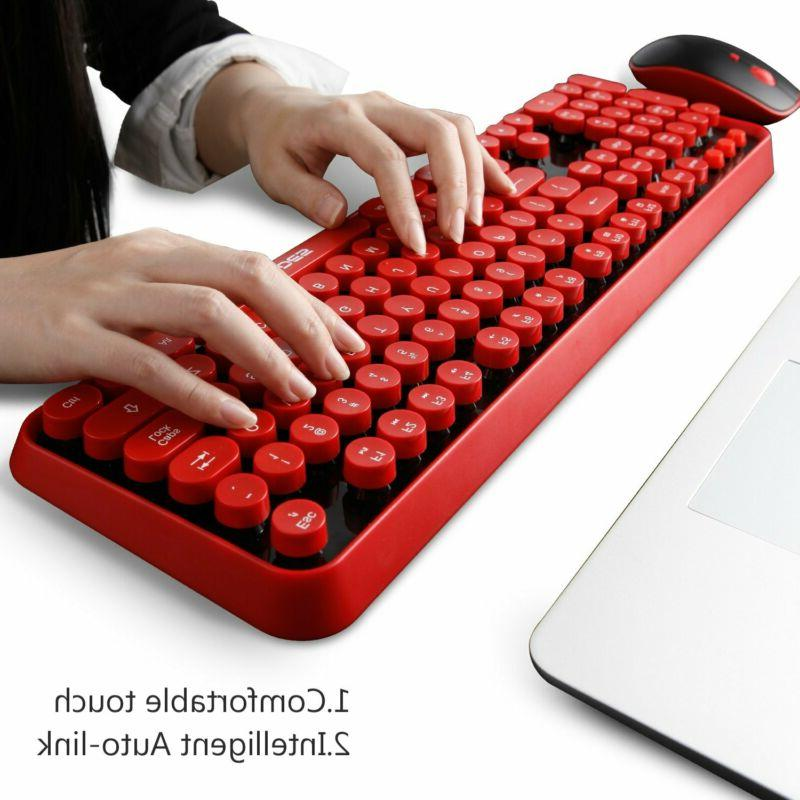 Wireless Keyboard Mouse,Cute Wireless Keyboard Round Retro Style Ke