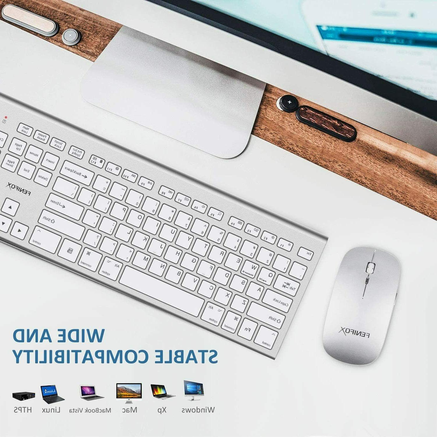 Wireless Keyboard&Mouse,Full-Size Whisper-Quiet for macOS Windows