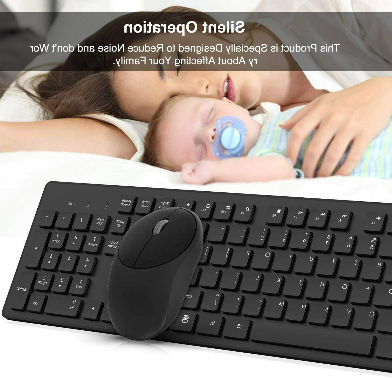 Wireless Keyboard Full-Size Wireless Mouse Keyboard Combo,2.4GHz