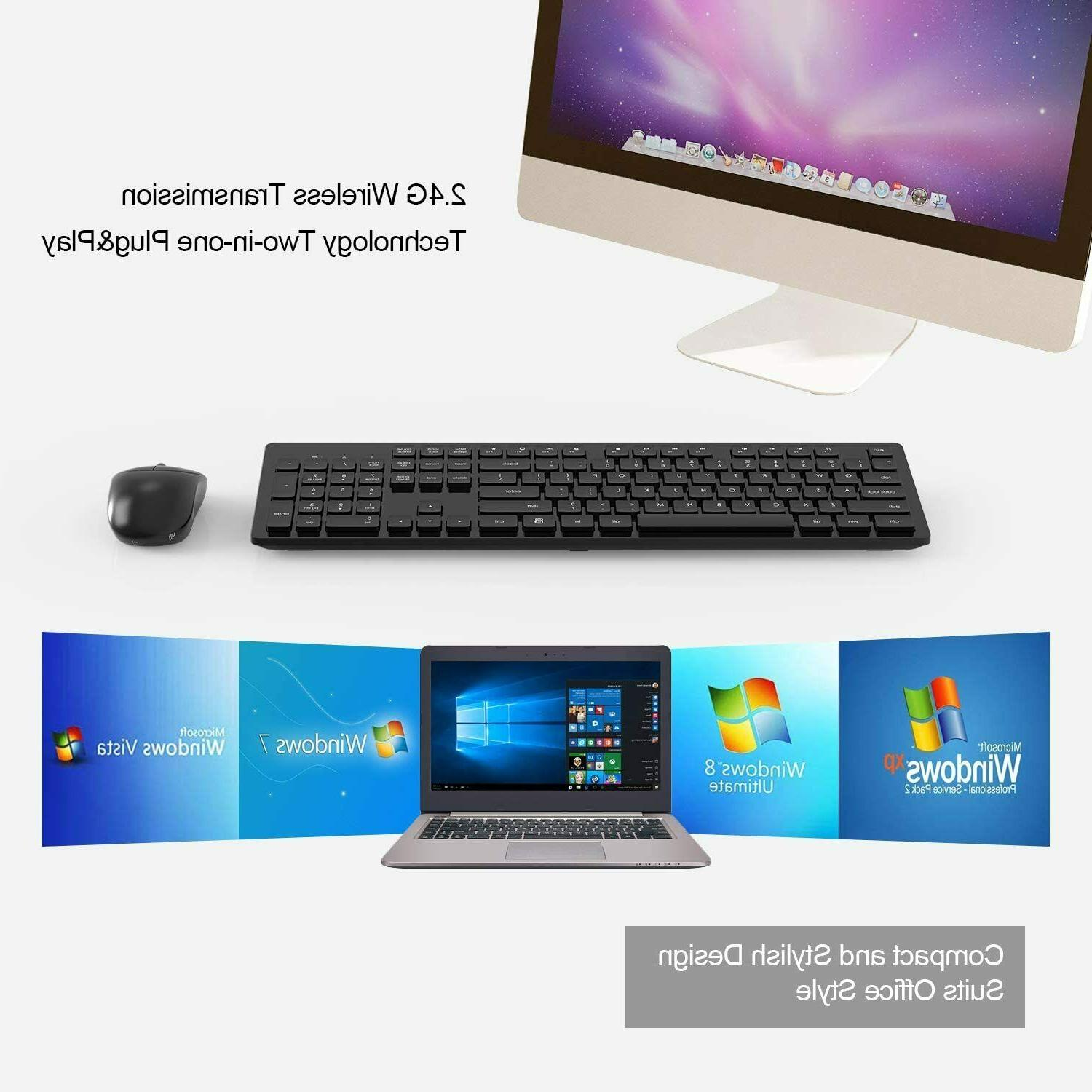 Wireless Keyboard and Mouse, Full-Size Wireless Mouse and Keyboard