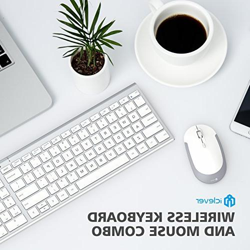 iClever GK03 and 2.4G Keyboard Mouse, Rechargeable Ergonomic Design Size Thin Connection DPI, White