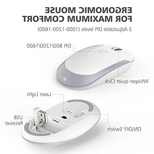 iClever GK03 Wireless and Combo 2.4G Portable Mouse, Design Size Thin Stable DPI, and