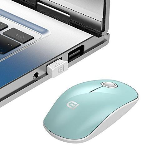 FD Wireless Mouse, 2.4G Silent Travel with Nano Laptop PC Chromebook and Notebook