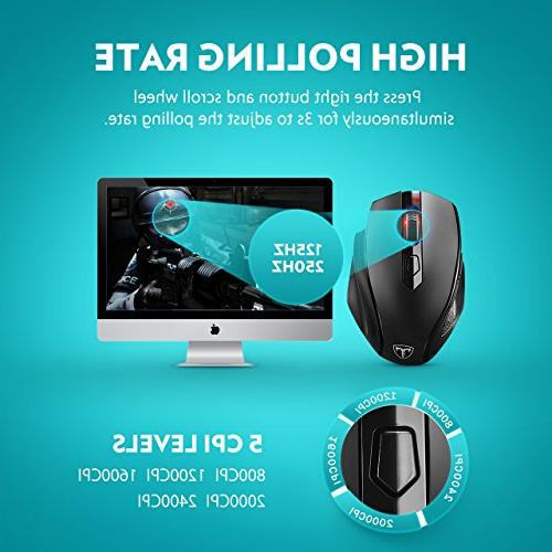VicTsing Full Wireless Mouse Receiver, Adjustable CPI Levels, 6 Buttons Notebook, Laptop, MacBook-Black