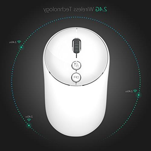 Jelly Wireless Mouse, 2.4G Portable with USB Adjustable 5 for Notebook, Computer, Macbook White