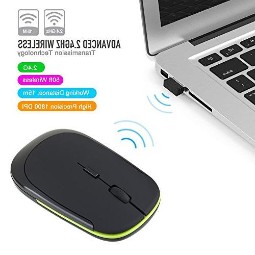 Wireless Mouse, Wireless with Receiver, Noise, Mobile Optical Mice for Notebook, Laptop, Macbook