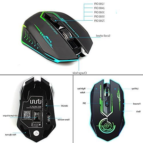 182b32f7b5b Wireless Gaming to Rechargeable USB 6 LED Ergonomic MMO RPG Computer Laptop