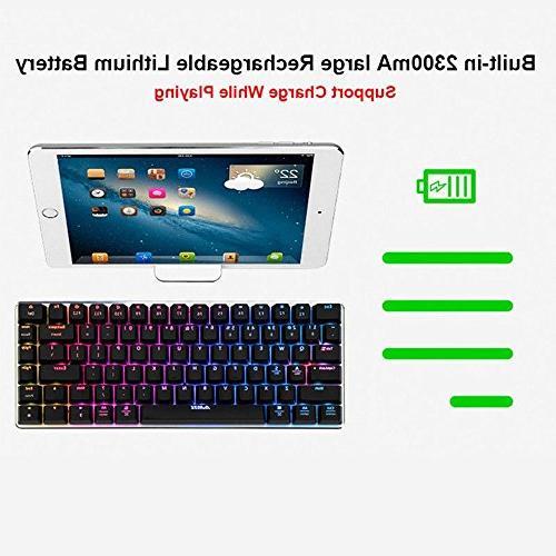 LexonElec Gaming Keyboard Ajazz Bluetooth 2.4 GHz LED Backlit Mechanical Pro Keypad Built in Rechargeable Battery