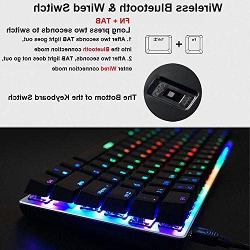 LexonElec Wireless Wired Gaming AK33 Bluetooth GHz LED Mechanical Pro Keypad Built in 2300mA Battery