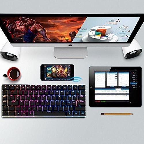 LexonElec Wireless Wired Gaming Keyboard Bluetooth 2.4 LED Backlit Keys Mechanical Pro Gamer Built 2300mA Battery