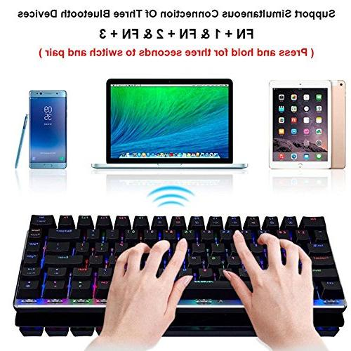 LexonElec and Wired Gaming Ajazz Bluetooth LED Backlit Keys Mechanical Pro Gamer Built in 2300mA Rechargeable Battery