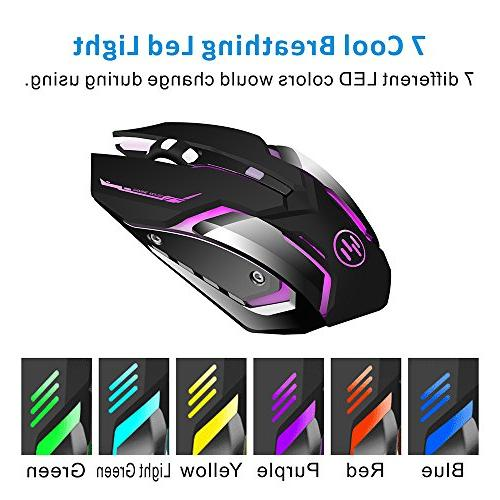TENMOS Wireless Rechargeable Gaming LED Silent Computer Compatible Laptop/PC/Notebook, 3 Adjustable