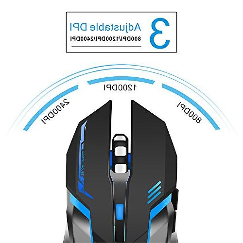TENMOS Gaming Mouse USB LED Compatible Laptop/PC/Notebook, Adjustable 6