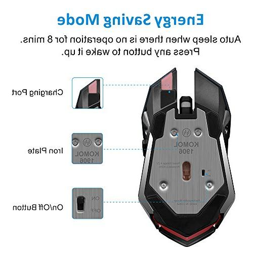 TENMOS Gaming Mouse Optical LED Silent Computer Compatible with Adjustable DPI,