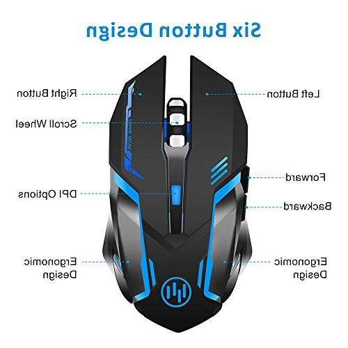 TENMOS Gaming Mouse USB LED Silent Computer Compatible Adjustable DPI, Buttons