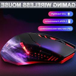 LED Backlit Wireless Gaming Mouse 5 Adjustable DPI 7 Buttons