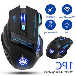 LED Wireless Gaming Mouse 2400DPI Optical USB for PC Laptop