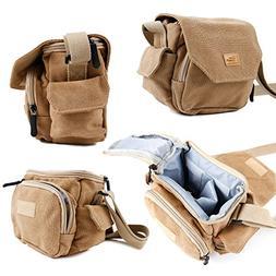 DURAGADGET Light Brown Medium Sized Canvas Carry Bag with Mu
