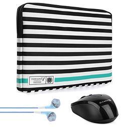 Vangoddy Luxe B Series Black White Stripe 15.6 Inch Durable