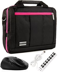 Messenger Pink Bag 7 Port 2.0 USB HUB & Wireless USB Mouse f