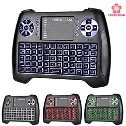 Mini Wireless Keyboard, Marcherry 2.4GHz 3 Colors Backlit Ga