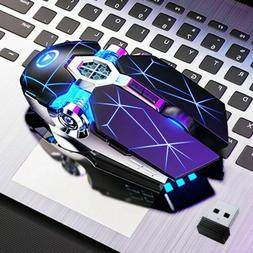 Mouse Gaming USB Wireless Mouse LED Backlit 7 Color Recharge