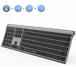 Multi-Device Bluetooth Keyboard Full Size Ultra Slim Recharg