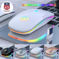 New Slim Wireless Mouse Silent USB Mice 2.4GHz Rechargeable