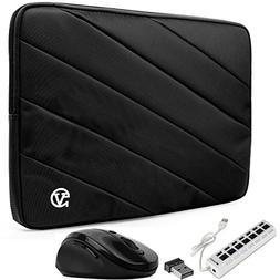 VanGoddy Onyx Black Shock Absorbent Laptop Sleeve w/ 7-Port