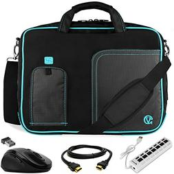 VanGoddy Pindar Blue Trim Laptop Bag w/ HDMI Cable, Mouse &