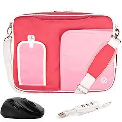 VanGoddy Pindar Pink White Trim Messenger Bag w/ USB HUB and