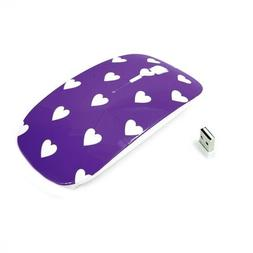 Purple Heart-Shape Design USB Optical Wireless Mouse for All