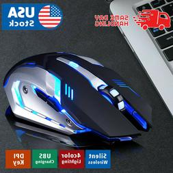 Gaming Mouse Rechargeable Wireless Silent LED Backlit USB Op