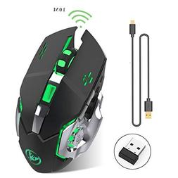 Rechargeable 2.4Ghz Wireless Gaming Mouse with USB Receiver,