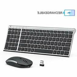Rechargeable Wireless Keyboard Mouse Combo, 2.4GHz Ultra Sli