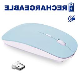 Rechargeable Wireless Mouse, VEGCOO C13 Slim Silent Click No