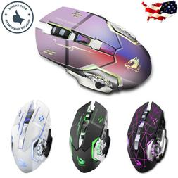 Rechargeable Wireless Mouse Optical Gaming Mice + USB Receiv
